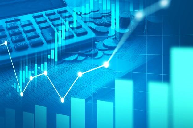 Wykres giełdowy lub forex w graficznej podwójnej ekspozycji