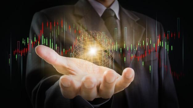 Wykres giełdowy lub wykres handlu forex i wykres świecowy odpowiednie dla koncepcji inwestycji finansowych
