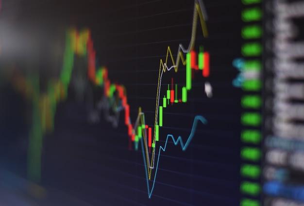 Wykres giełdzie finansowej wykres giełdowy inwestycji giełdzie giełdowy ekran w nocy zamknij