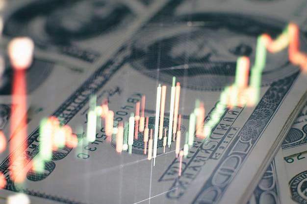Wykres i wskaźnik cen technicznych, wykres czerwonej i zielonej świecy na niebieskim ekranie tematycznym, zmienność rynku, trend wzrostowy i spadkowy. handel giełdowy, tło waluty kryptograficznej.