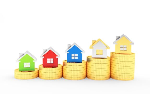 Wykres kolorowych domów na stosach monet