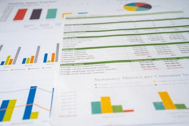 Wykres lub papier milimetrowy. koncepcja danych finansowych, konta, statystyki i danych biznesowych.