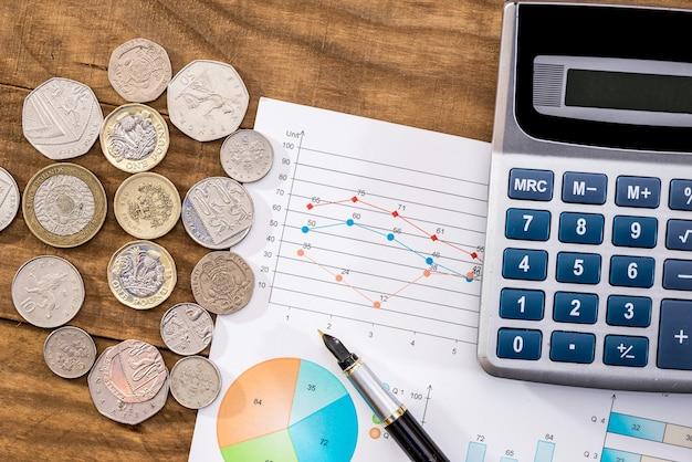 Wykres, pieniądze i kalkulator