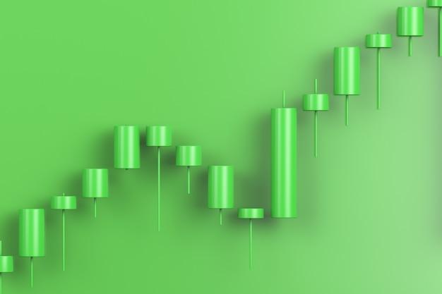Wykres przedstawiający wzrost. widok japońskich świec.