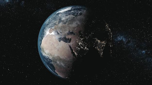 Wykres ruchu model planety ziemia z oświetlonymi kontynentami na orbitach wokół słońca w stosunku do drogi mlecznej w przestrzeni. animacja 3d. koncepcja nauki i technologii. elementy tego nośnika dostarczone przez nasa