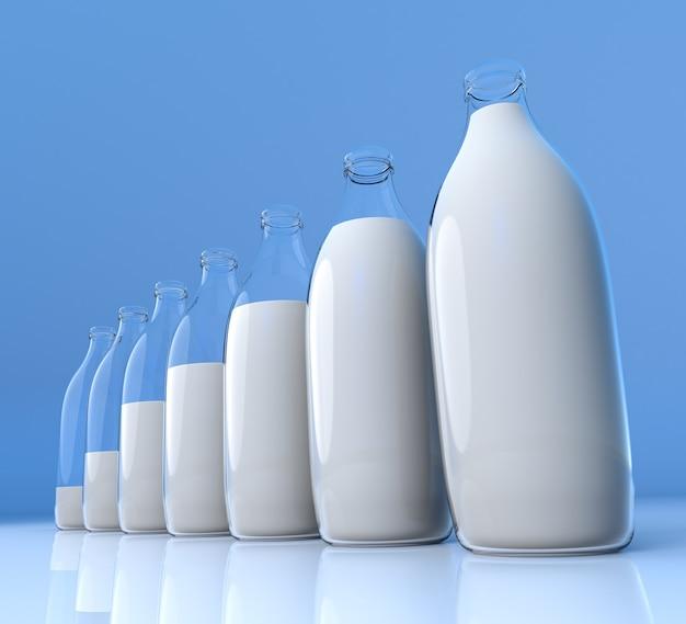 Wykres słupkowy szkła mleka na niebieskim tle.
