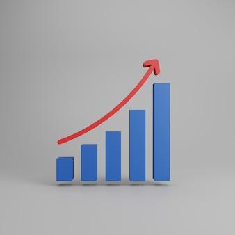 Wykres słupkowy wzrostu. na białym tle na szarym tle. renderowanie 3d