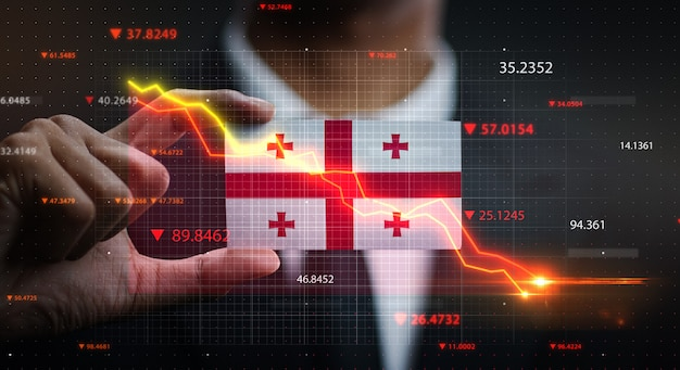 Wykres spada przed flagą gruzji. pojęcie kryzysu