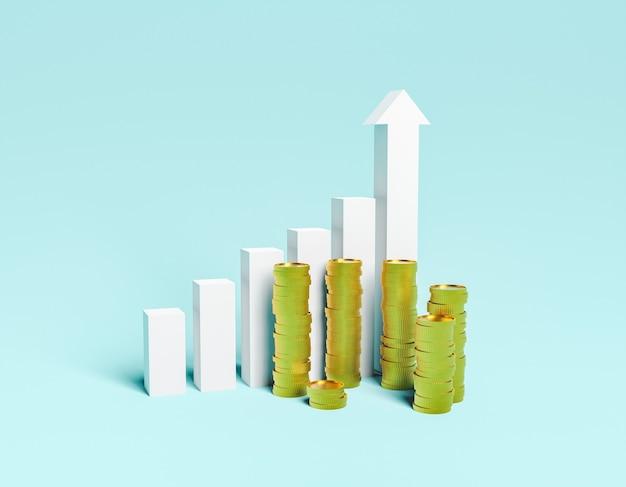 Wykres wzrostu gospodarczego ze stosami monet z przodu