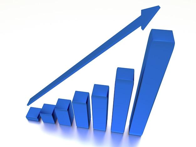 Wykres z rosnącym postępem i strzałką na białym tle