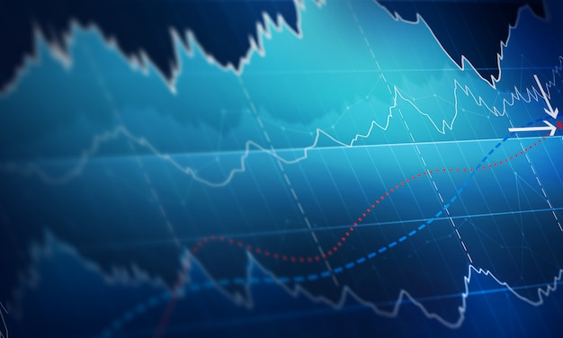 Wykres z wykresu linii trendu wzrostowego, wykresu słupkowego i diagramu na rynku byka na ciemnym niebieskim tle.