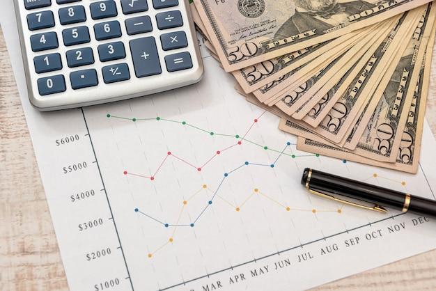 Wykresy biznesowe dolara długopis i kalkulator. koncepcja analizy danych finansowych