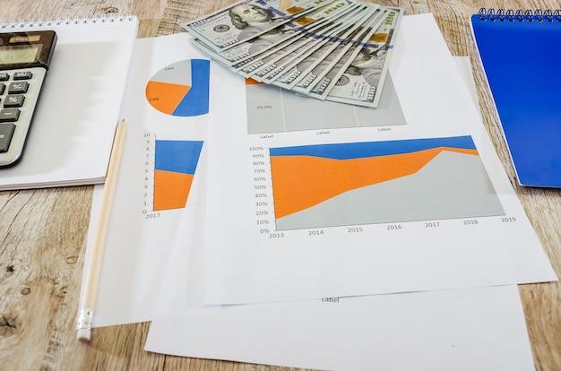 Wykresy biznesowe i dolary na stole