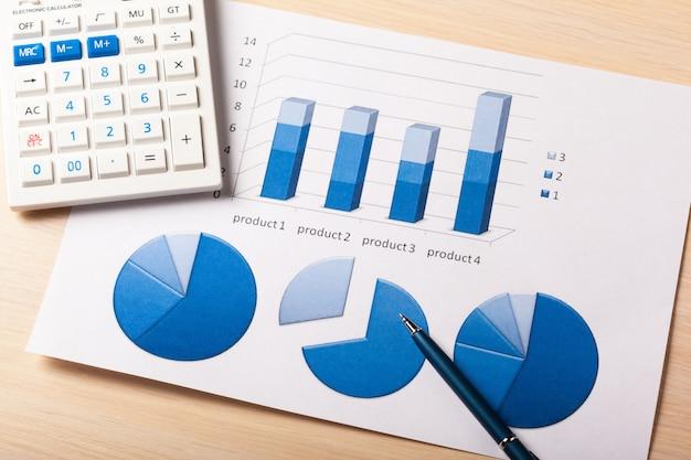 Wykresy biznesowe niebieskie