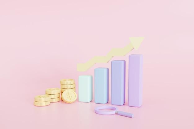 Wykresy giełdowe monet. koncepcja sukcesu celów biznesowych, ilustracja 3d