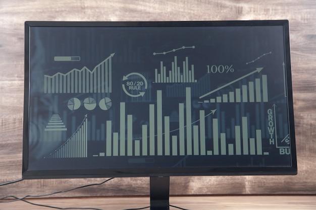 Wykresy i wykresy na ekranie komputera. analiza. biznes