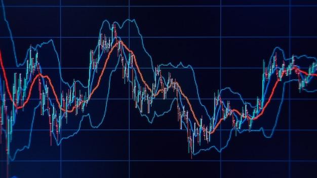 Wykresy i wykresy rynkowe. koncepcja finansowa i biznesowa. płytkie dof!