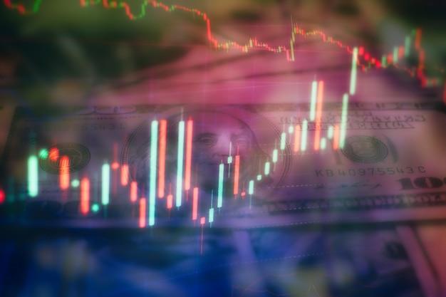 Wykresy słupkowe, diagramy, dane finansowe. wykres forex. świecowy wykres wykresu inwestycji na giełdzie. wykres wykresu forex na cyfrowym ekranie.