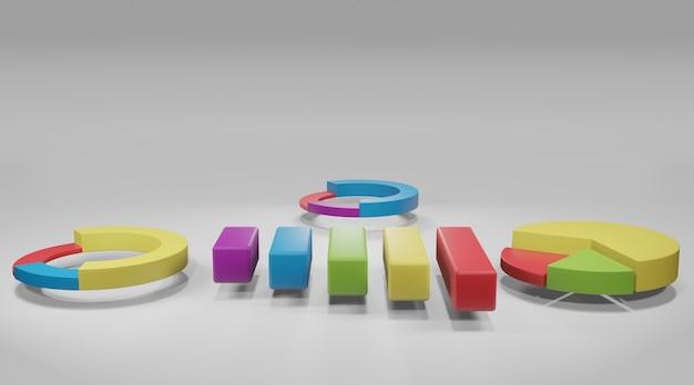 Wykresy słupkowe i kołowe elementów danych biznesowych, diagramy i wykresy. renderowanie 3d