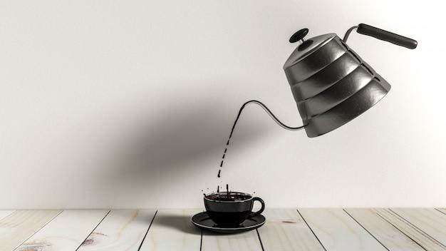 Wylewanie czarnej kawy z metalowego czajnika. minimalny pomysł stylu vintage, 3d render.