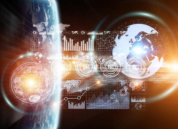 Wymiana danych i globalna sieć na całym świecie renderowanie 3d
