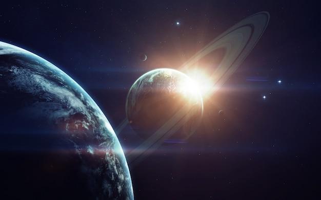 Wyobraźnia w przestrzeni kosmicznej, planety, gwiazdy i galaktyki w nieskończonym wszechświecie