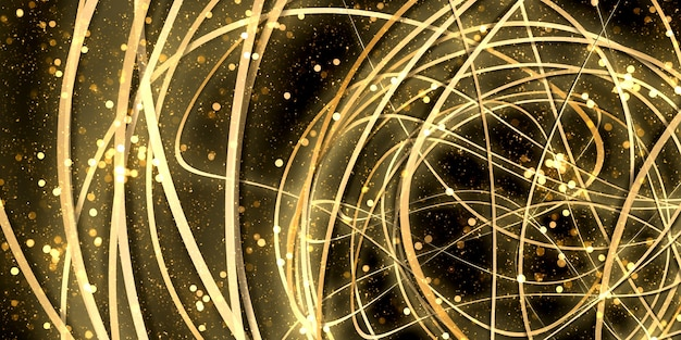 Wypaczona krzywa tło abstrakcyjne złote światło bokeh blask ilustracja 3d