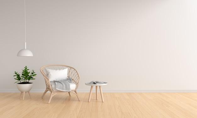 Wyplatane drewniane krzesło w białym salonie