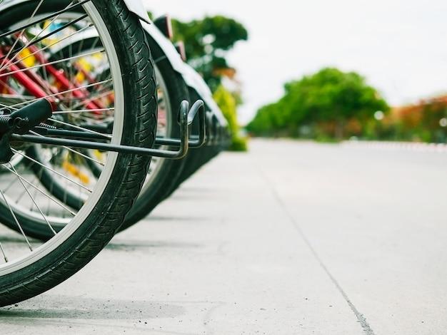 Wypożyczalnia rowerów koło z rzędu w pobliżu drogi