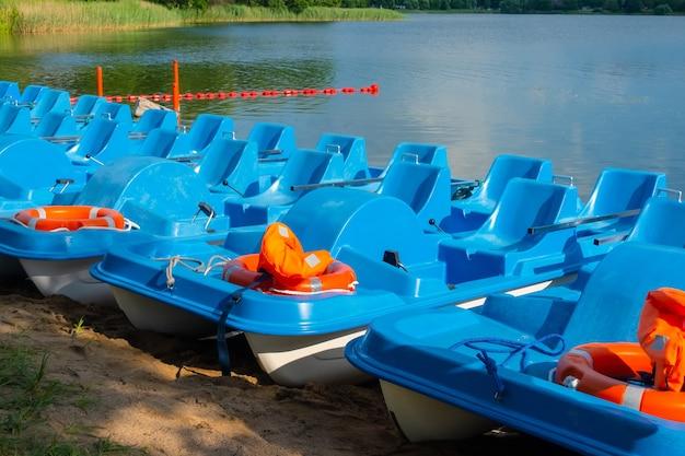 Wypożyczalnia rowerów wodnych zaparkowanych nad brzegiem jeziora w słoneczny dzień