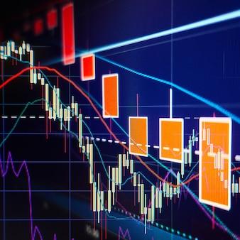 Wyprzedaż na giełdzie - wykresy i wykresy giełdowe - tło finansowe i biznesowe
