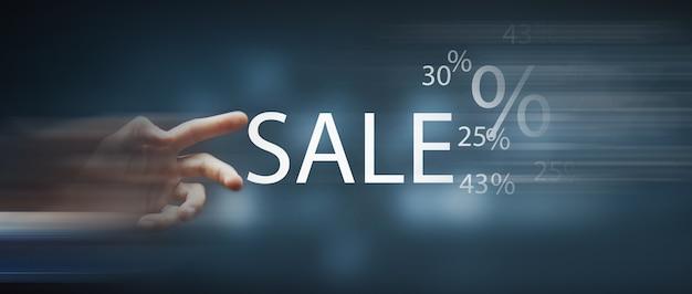 Wyprzedaż procent rabatu % sprzedaż tekstowa.
