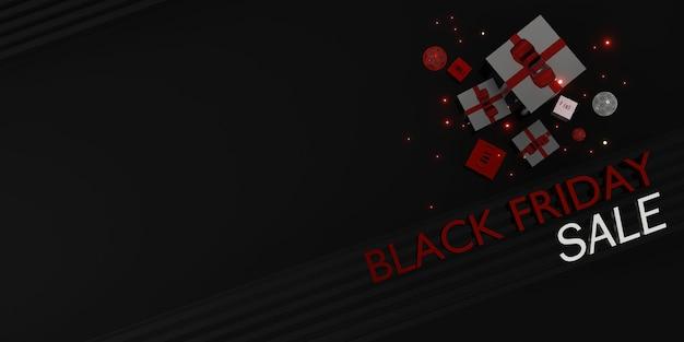 Wyprzedaż sklepu z banerami w czarny piątek z prezentami i balonami ilustracja 3d