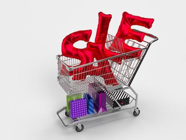 Wyprzedaż tekst napis kolor czerwony, wózek, pudełko produktu, torba na zakupy w różnych kolorach