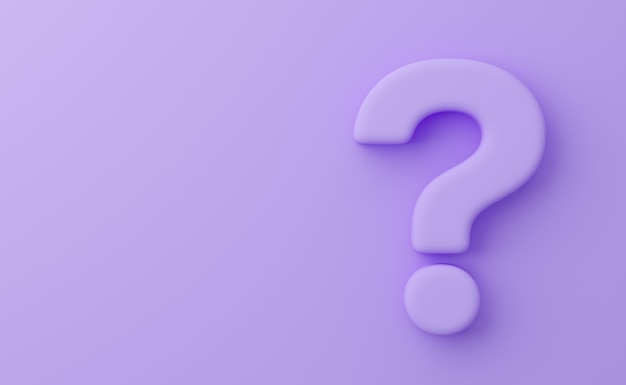 Wypukły znak zapytania na fioletowym tle