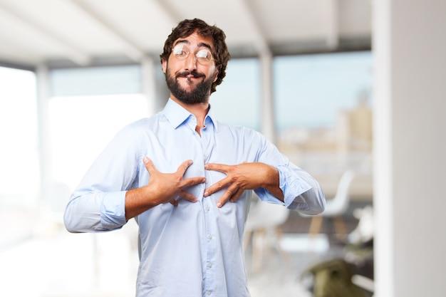 Wyrażenie szalonego hipis człowieka .happy