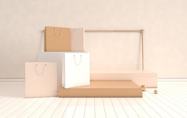 Wyrenderowane w 3d wnętrze z geometrycznymi kształtami, podium na podłodze i torbą na zakupy
