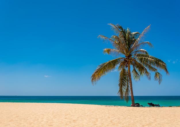 Wyrzucać na brzeg z białym piaskiem, błękitnym morzem i niebem w sezonie letnim