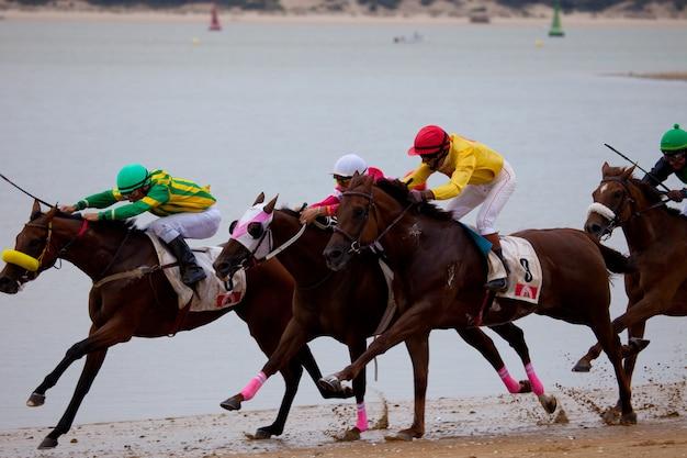 Wyścig konny na sanlucar w barrameda, hiszpania