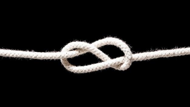 Wyślij biały sznur prosty węzeł