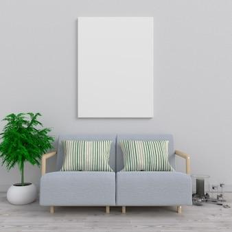Wyśmiewa w górę plakata w żywym pokoju, 3d rendering