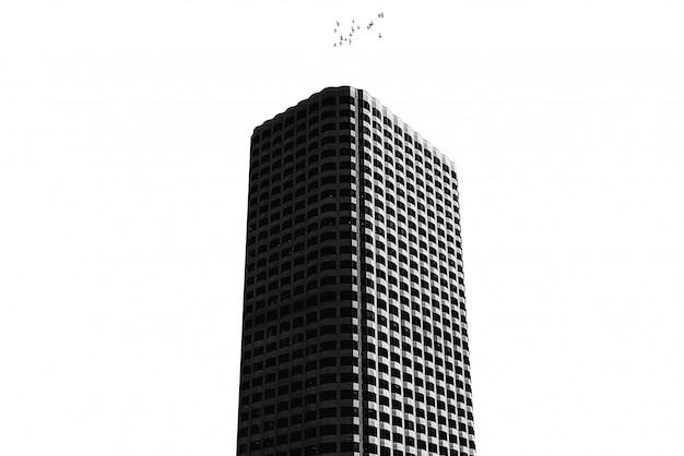 Wysoki budynek z czystą bielą na białym tle