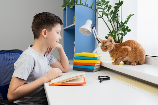 Wysoki kąt chłopiec z czytania kota