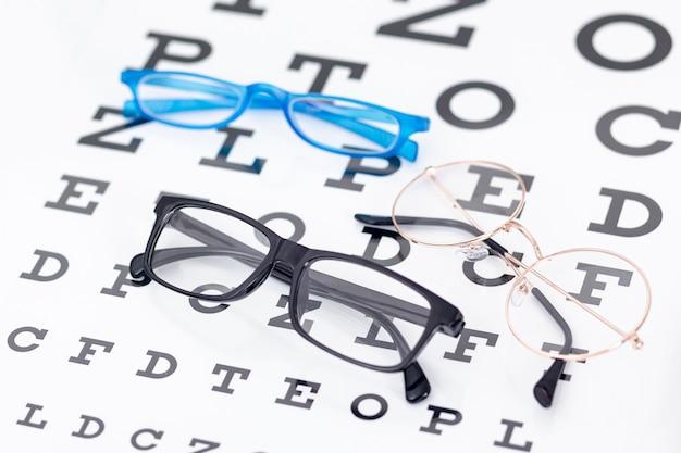 Wysoki kąt dwóch par okularów z literami