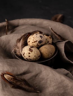 Wysoki kąt jaja przepiórcze w misce z piórami