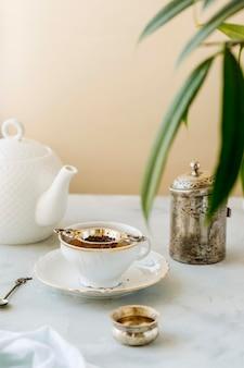 Wysoki kąt koncepcji herbaty ziołowej