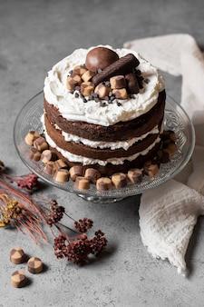 Wysoki kąt koncepcji pysznego ciasta