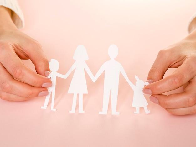Wysoki kąt ładny układ koncepcja rodziny