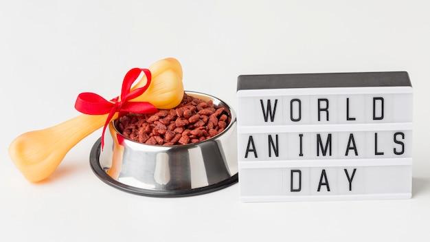 Wysoki kąt miski na karmę z kością i podświetlanym pudełkiem na dzień zwierząt