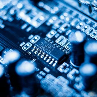Wysoki kąt niebieski element technologii tło